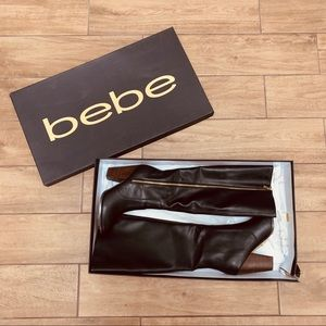 Bebe Black Leather Knee High Boots - Baylea